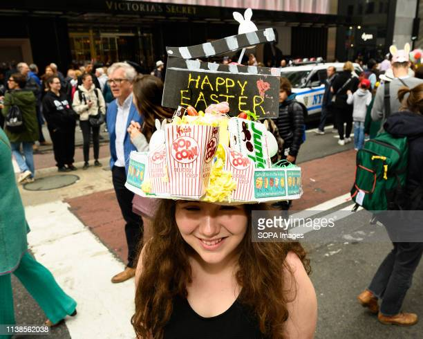 A participant seen in a fancy costume during the Easter Bonnet parade on Fifth Avenue in midtown Manhattan in New York City