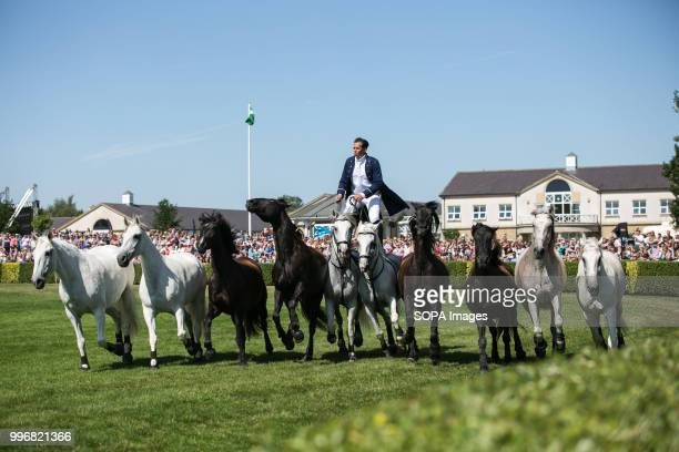 A participant seen riding on the back of two horses while standing up during the Great Yorkshire Show 2018 on day one The Great Yorkshire Show is the...