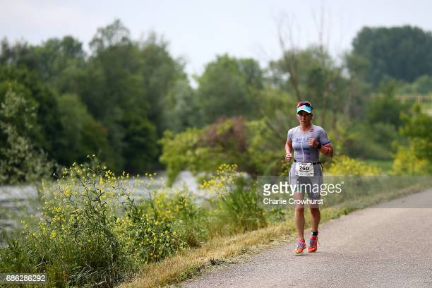 Participant take part in the crun leg of the race during Ironman 703 St Polten on May 21 2017 in Sankt Polten Austria