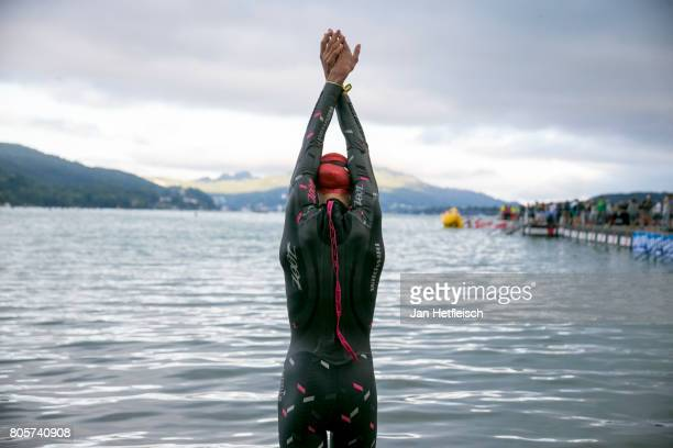 A participant warms up for the IRONMAN Klagenfurt on July 2 2017 in Klagenfurt Austria