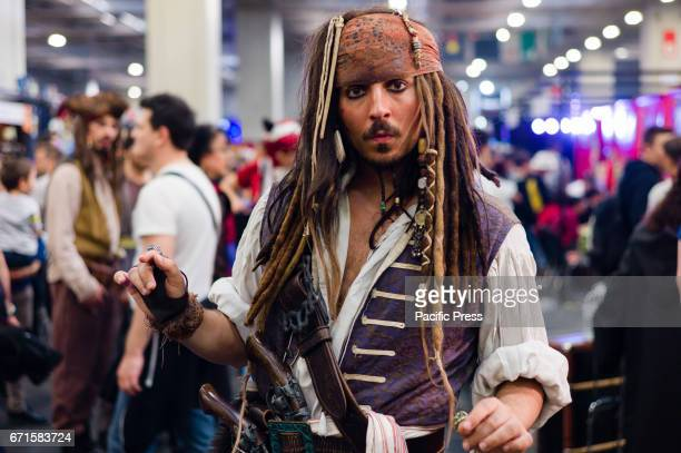 A participant wearing a costume of Jack Sparrow during the Torino Comics It is a convention dedicated to comics manga and relative merchandising