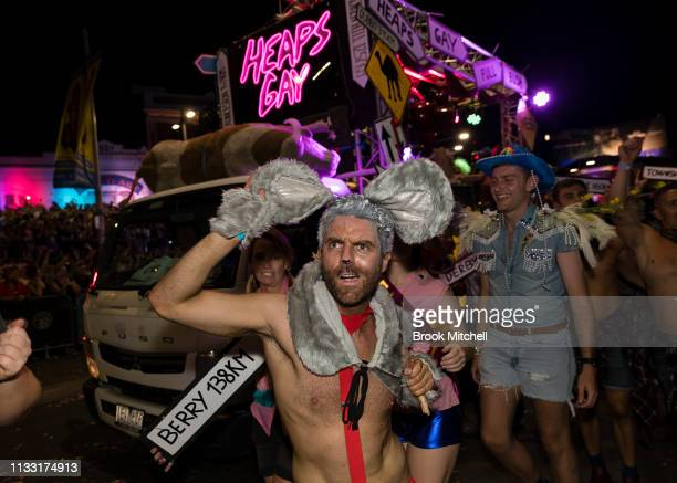 A participant wearing mouse ears is seen during the 2019 Sydney Gay Lesbian Mardi Gras Parade on March 02 2019 in Sydney Australia The Sydney Mardi...