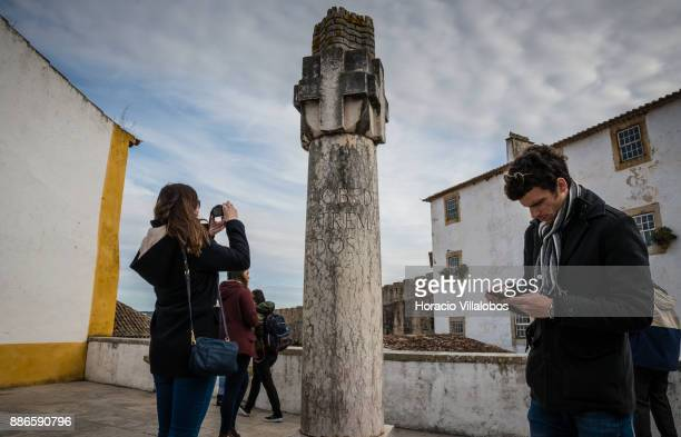 Participants and 'Simply b' tour guide Marcos during Gastronomic FAM Tour on November 27 2017 in Obidos Portugal Gastronomic tours are hosted by...