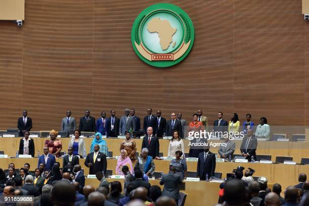 Participants are seen during closing session of the 30th African Union Heads of State and Government Summit in Addis Ababa Ethiopia on January 29 2018