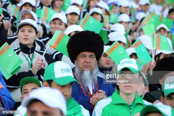 Participants are seen during the opening ceremony of AkhalTeke Horse Beauty Contest within annual Turkmen Racing Horse Festival in Ashgabat...