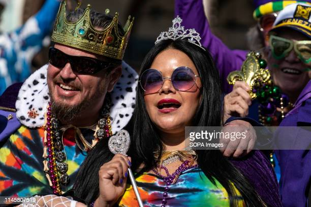 Participants are seen during the parade in Los Angeles. Mardi Gras also known as Fat Tuesday is a cultural Carnival that is celebrated throughout...