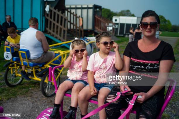 Participants arrive ahead of the annual 'London Harness Horse Parade' on Easter Monday at The South of England Event Centre on April 22 2019 in...