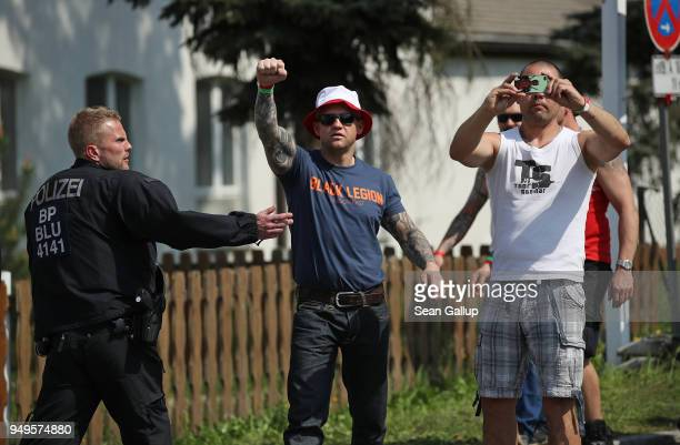 Participants arrive for a neoNazi music fest on April 21 2018 in Ostritz Germany By earky after noon approximately 500 neoNazis from across central...