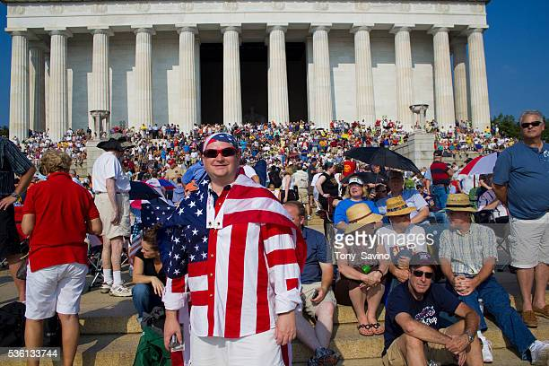 Participants at a Washington DC Rally called by Fox TV personality Glenn Beck on the 47th anniversary of the March on Washington where Dr Martin...