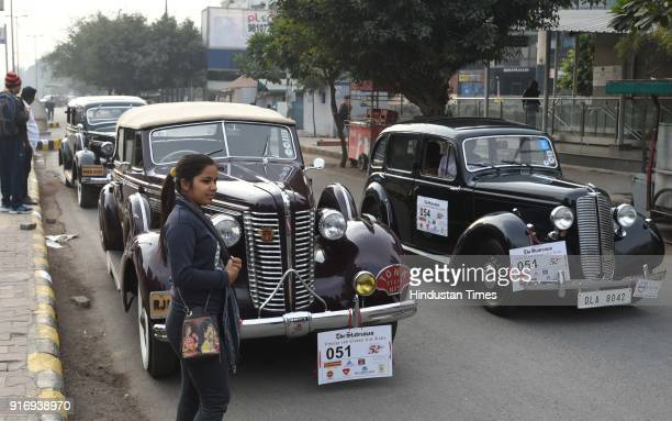 Participants at the 52nd edition of 'The Statesman Vintage and Classic Car Rally' at the Statesmen Building on February 11 2018 in New Delhi India...