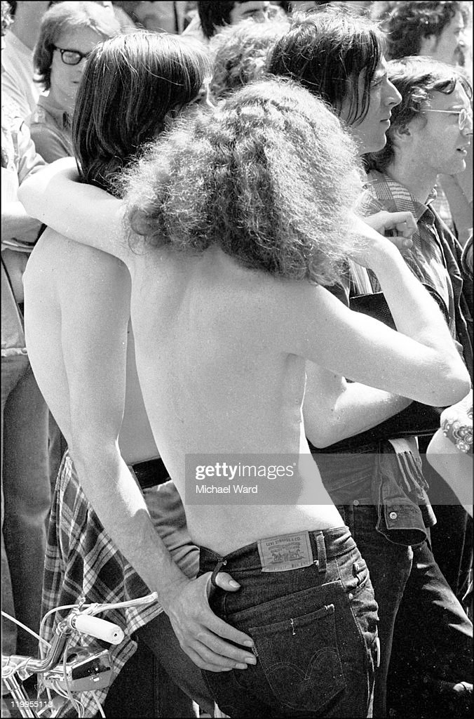 Participants at the Gay Liberation march, London, 1975.