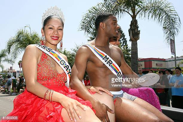 Participants at the Gay Pride Parade on Santa Monica Boulvard on June 8 2008 in West Hollywood California