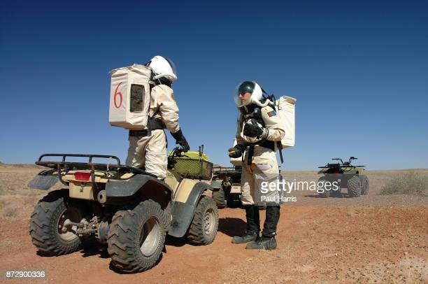 Participants at the Mars Society Mars Project which consist's of 3 teams of 6 people living in a Tin Can in the Southern Utah desert pretending they...