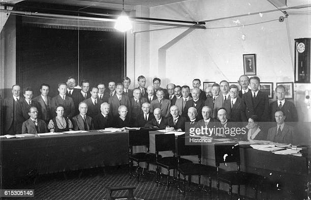 Participants at the seventh Solvay Physics Conference at Brussels Belgium line up for a photo This conference represents a meeting of some of the...