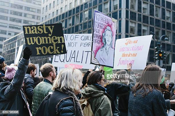 Participants at the Womens March in New York Holding Signs
