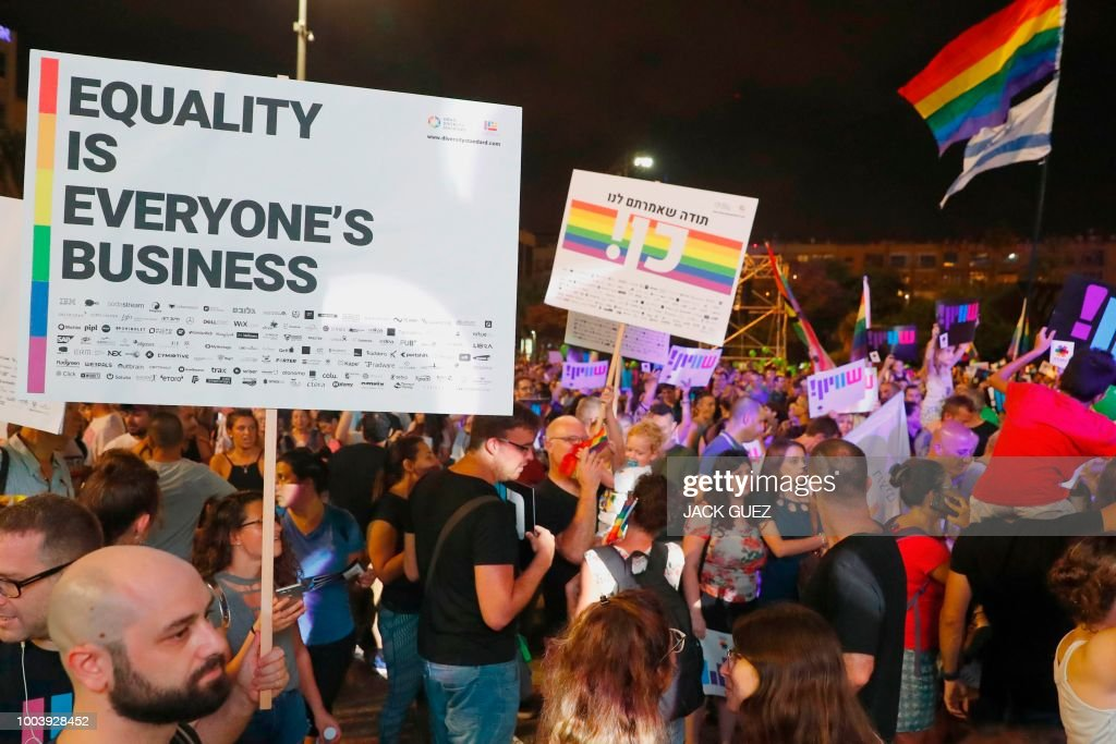 ISRAEL-HOMOSEXUALITY-FAMILY-POLITICS-DEMONSTRATION : News Photo