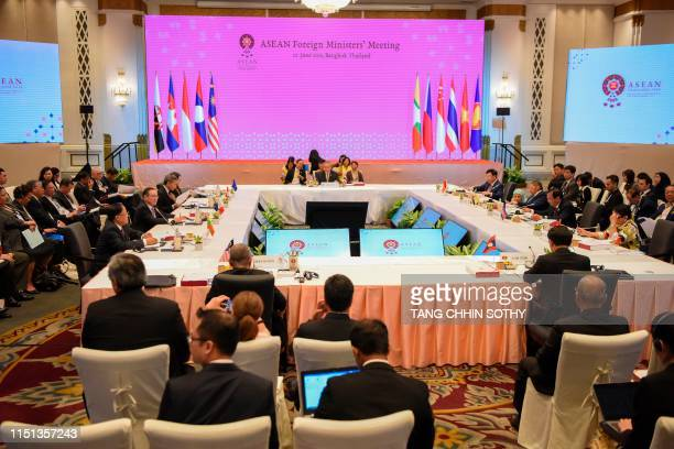 Participants attend ASEAN Foreign Ministers' Meeting ahead of the 34th Association of Southeast Asian Nations summit in Bangkok on June 22 2019