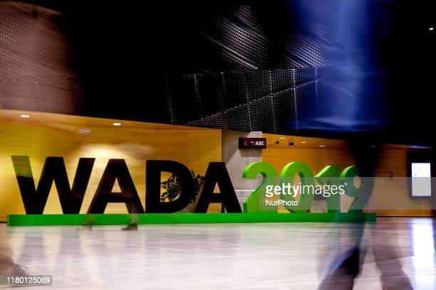 Participants attend the first day of World Conference of Doping in Sport 2019, organised by World Anti-Doping Agency on November 5, 2019 in Katowice,...
