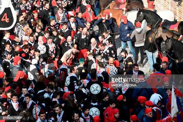 Participants attend the traditional Oranges battle of Ivrea Carnival near Turin on February 11 2018 Established in 1808 the Carnival of Ivrea is one...