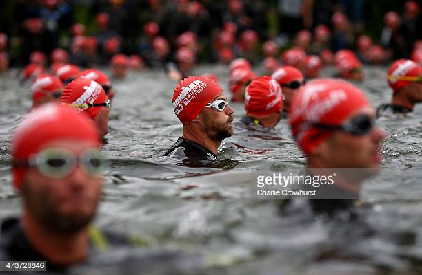 Participants await the start of the race during the Ironman 703 St Polten on May 17 2015 in St Polten Austria