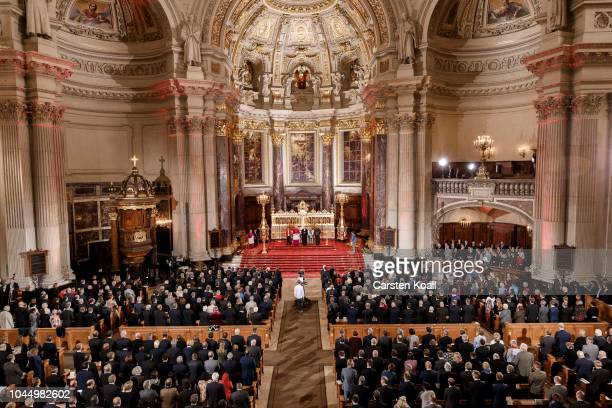 Participants celebrate a service at the Dom cathedral during celebrations to mark German Unity Day on October 3 2018 in Berlin Germany Unity Day a...