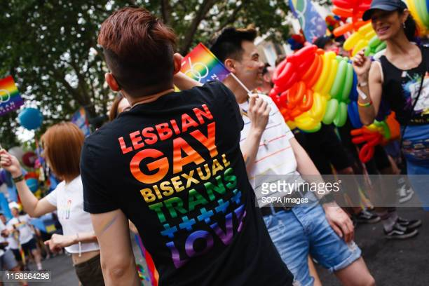 Participants celebrate at the Portland Place during the 2019 Pride parade in London This year marks the 50th anniversary of the 1969 Stonewall riots...