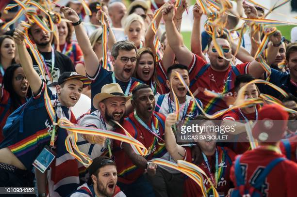 Participants celebrate during the opening ceremony of the 2018 Gay Games edition at the Jean Bouin Stadium in Paris on August 4 2018 French capital...