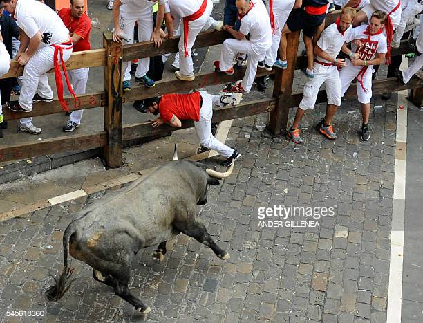 Participants climb on fence to avoid a Jose Escolar Gil's fighting bull on the third day of the San Fermin bull run festival in Pamplona northern...