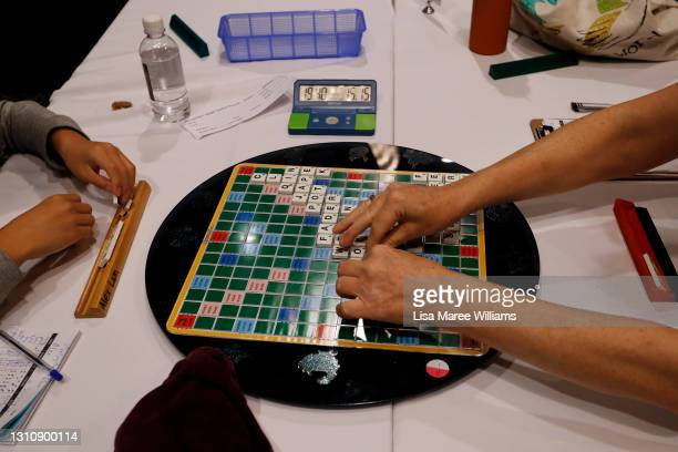 Participants compete during the 2021 National Scrabble Championships at Bankstown Sports Club on April 05, 2021 in Sydney, Australia. Around 100...