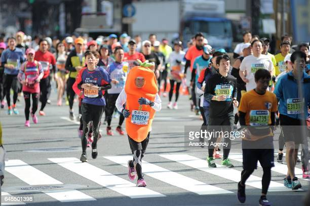 Participants compete during the Tokyo Marathon 2017 at the streets of Tokyo Japan on February 26 2017