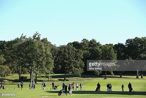 Participants compete in a regional round of the Drive, Chip, and Putt Championship at The Country Club on September 25, 2016 in Brookline,...