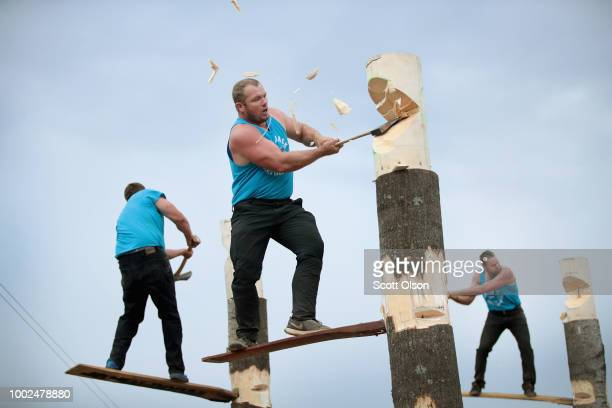 Participants compete in a Springboard Chop event at the Lumberjack World Championships on July 19 2018 in Hayward Wisconsin The event in its 59th...