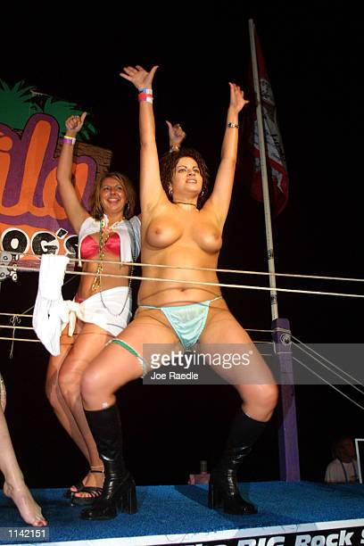 Participants compete in a wet tshirt contest at Tequila Frogs in South Padre Island Texas March 18 2001 during the annual rite of Spring Break Some...