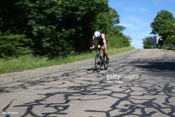 Participants compete in the bike leg of the race during Ironman 703 Kraichgau on June 11 2017 in Kraichgau Germany