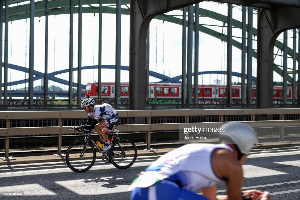 Participants compete in the bike leg of the race during IRONMAN Hamburg on August 13, 2017 in Hamburg, Germany.