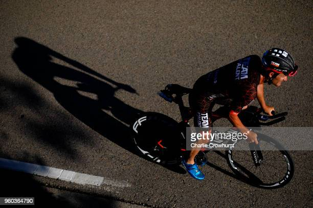 Participants compete in the cycle leg of the race during IRONMAN 703 Barcelona on May 20 2018 in Barcelona Spain