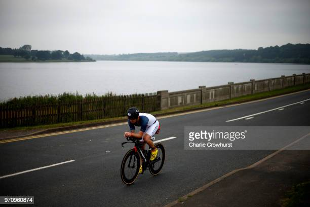 Participants compete in the cycle leg of the race during the IRONMAN 70.3 Staffordshire on June 10, 2018 in Lichfield, England.