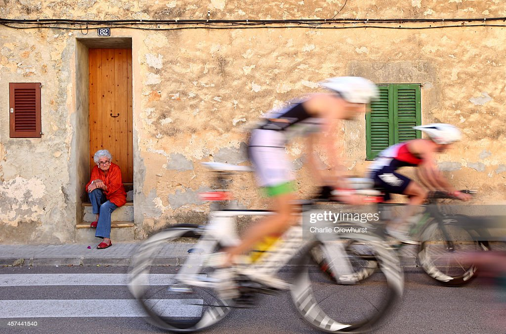 Participants compete in the cycle leg of the race during the Challenge Triathlon Paguera-Mallorca on October 18, 2014 in Mallorca, Spain.
