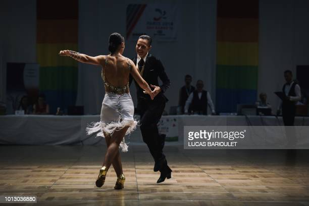 Participants compete in the dancing contest during the 10th edition of the international Gay Games at the Gymnase Japy in Paris on August 7 2018 In...