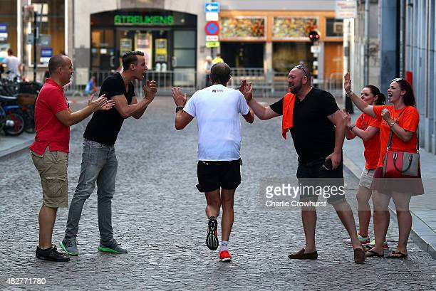 Participants compete in the run leg of the race during Ironman Limburg on August 02 2015 in Maastricht Netherlands