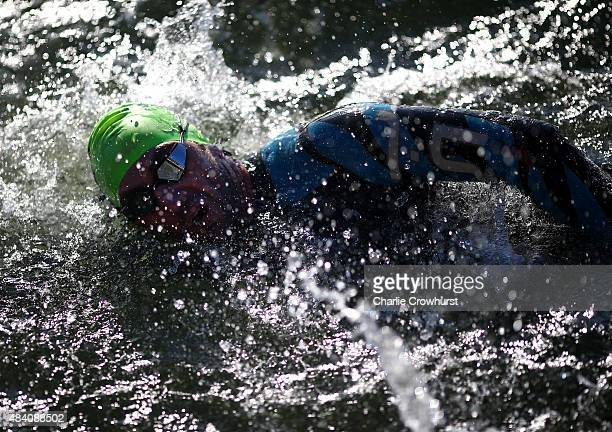 Participants compete in the swim leg of the race during Ironman Kalmar on August 15 2015 in Kalmar Sweden