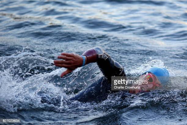 Participants compete in the swim leg of the race during Ironman MaastrichtLimburg on August 6 2017 in Maastricht Netherlands