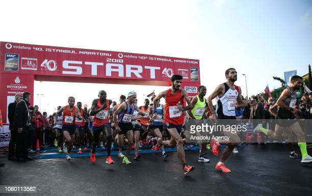Participants compete in the World's only intercontinental marathon 'Vodafone 40th Istanbul Marathon' in Istanbul Turkey on November 11 2018 About...