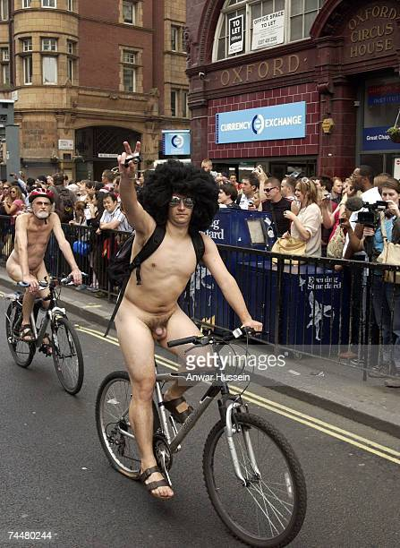 Participants cycle nude on Oxford street as part of the World Naked Bike Ride on June 9 2007 in London England Rides took place in cities around the...