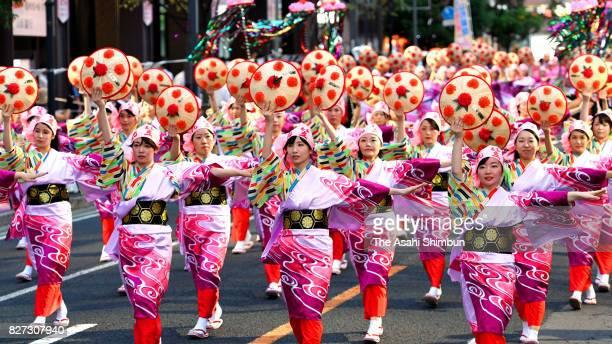 Participants dance during the Yamagata Hanagasa Dance Festival on August 5 2017 in Yamagata Japan