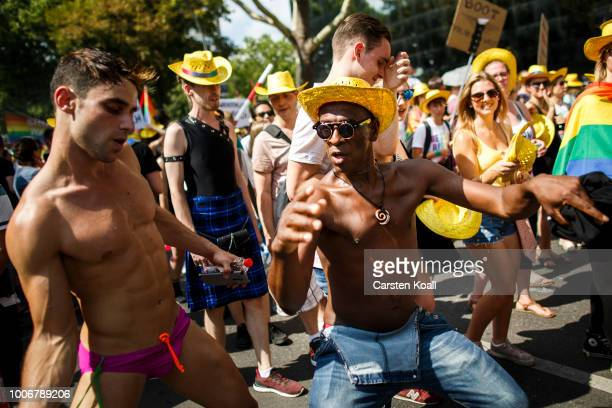 Participants dancing at the 40th Christopher Street Day gay pride march on July 28 2018 in Berlin Germany Known as CSD the event attracts thousands...