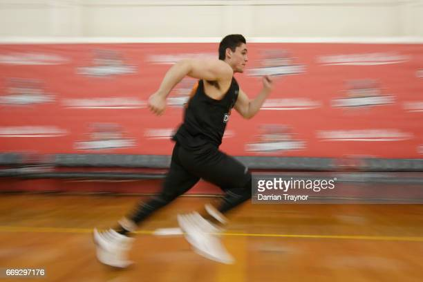 Participants do sprint testing during the NBL Combine 2017/18 at Melbourne Sports and Aquatic Centre on April 17 2017 in Melbourne Australia