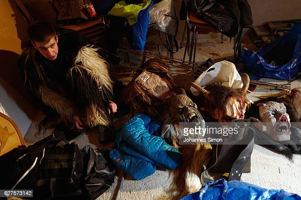 Participants dress as the Krampus creature prior to Krampus night on December 2 2016 in Neustift im Stubaital Austria Krampus associations from...