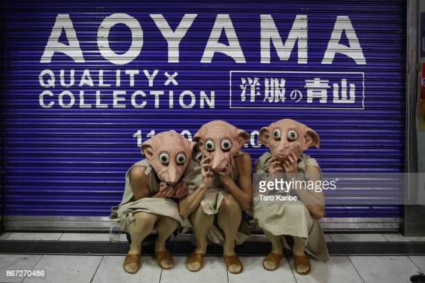 Participants dress up as Dobby on the Halloween weekend in Shibuya district on October 28 2017 in Tokyo Japan