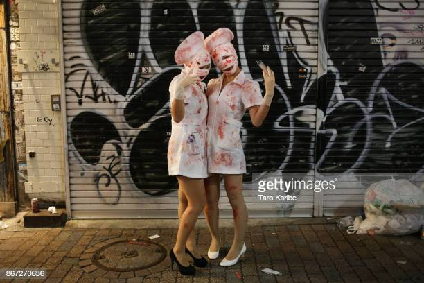 Participants dress up as Zombie nurses on the Halloween weekend in Shibuya district on October 28 2017 in Tokyo Japan